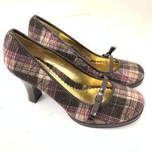 RAMPAGE Jayden Plaid Patent Fabric Bow Heels 8.5